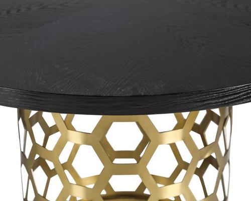 Portofina Round Dining Table Wenge Top Brass Base image 3