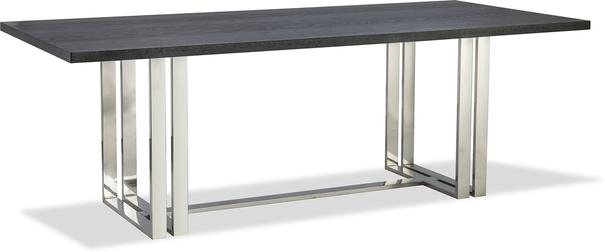 Lennox Black Top Dining Table Polished Brass or Steel