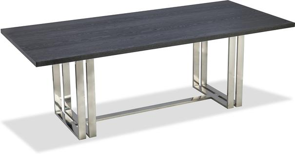 Lennox Black Top Dining Table Polished Brass or Steel image 3