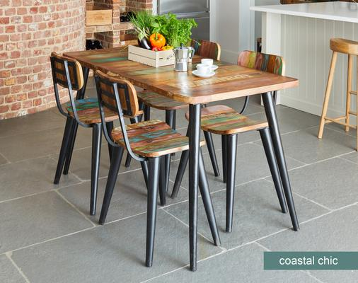 Coastal Chic Small Rectangular Dining Table Reclaimed Wood