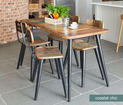 Coastal Chic Small Rectangular Dining Table Reclaimed Wood image 2