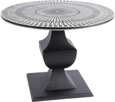 Humbug Bone Inlay Round Dining Table Black And White