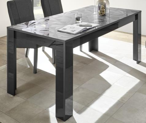 Brescia Dining Table 180cm - Gloss Anthracite with Grey Stencil