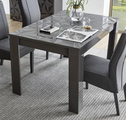 Brescia Dining  Extendable  Table  -  Gloss Anthracite with Grey Stencil