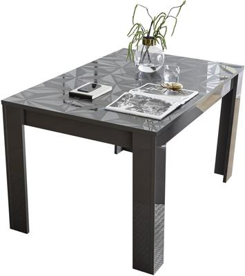 Brescia Dining  Extendable  Table  -  Gloss Anthracite with Grey Stencil image 2