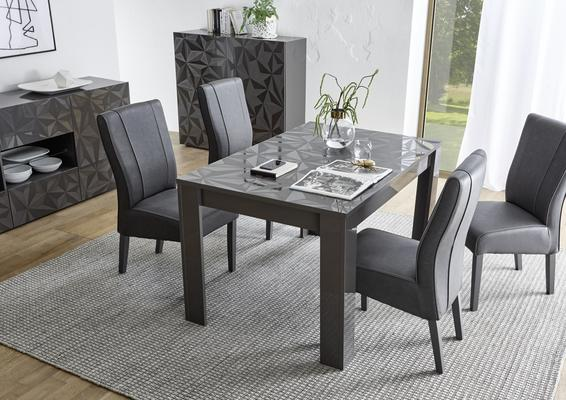 Brescia Dining  Extendable  Table  -  Gloss Anthracite with Grey Stencil image 3