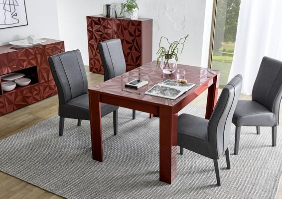 Brescia Extendable  Table 137cm - Gloss Red Finish with Grey Stencil Print