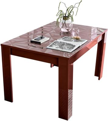 Brescia Extendable  Table 137cm - Gloss Red Finish with Grey Stencil Print image 2