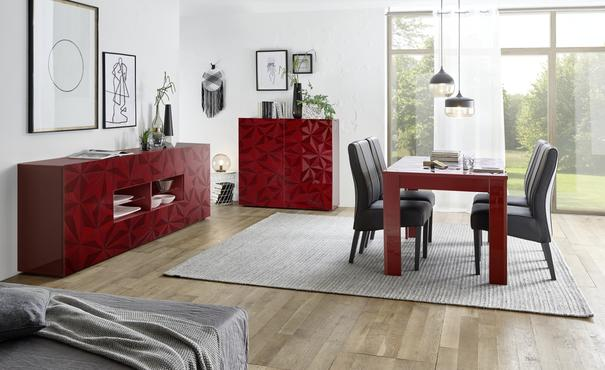Brescia Extendable  Table 137cm - Gloss Red Finish with Grey Stencil Print image 3