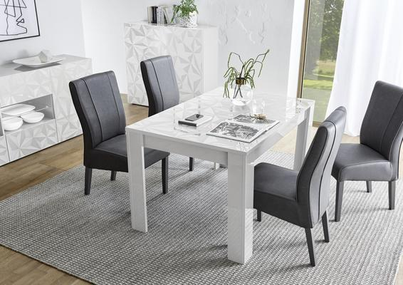 Brescia Dining Table 137cm - Gloss White Finish with Grey Stencil Print