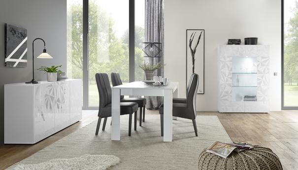 Brescia Dining Table 137cm - Gloss White Finish with Grey Stencil Print image 2