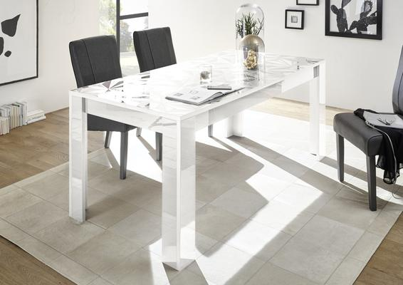 Brescia Dining Table 180cm - Gloss White with Grey Stencil Print