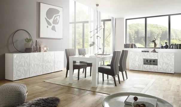 Brescia Dining Table 180cm - Gloss White with Grey Stencil Print image 2