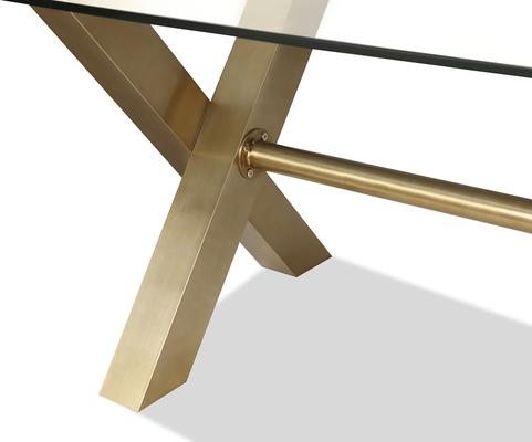 Zaha Brushed Brass / Glass Rectangular Dining Table 220x100cm image 4