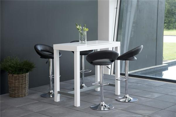 Angala bar table and pluma barstools