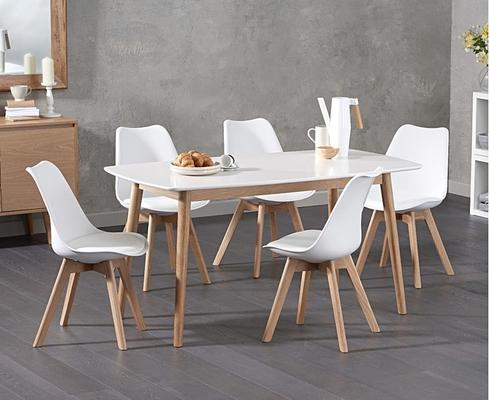 Harstad Oak and white dining table image 3