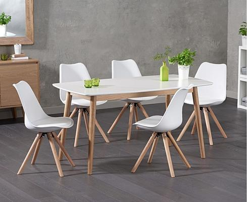 Harstad Oak and white dining table image 4