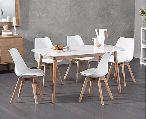 Harstad Oak and white dining table image 5