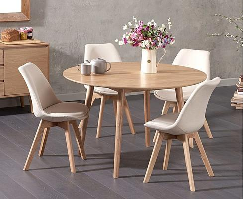 Harstad Oak round dining table image 3