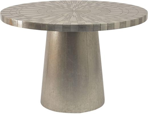 Coco Silver Embossed Metal Round Dining Table 4 Seater