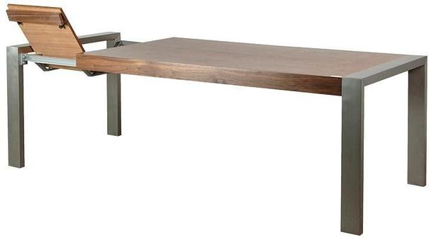 Morcott Walnut and Steel Extending Dining Table