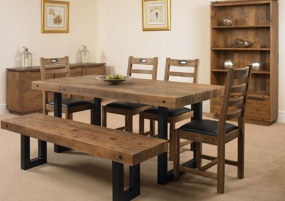 New York dining table with 4 chairs and bench