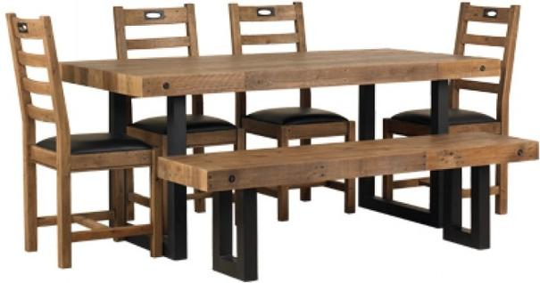 New York dining table with 4 chairs and bench image 3