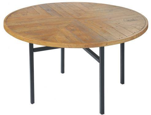 Thorpe Parquet Round Dining Table Reclaimed Pine
