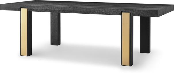 Parma Art Deco Dining Table Wenge and Brass Accent Legs