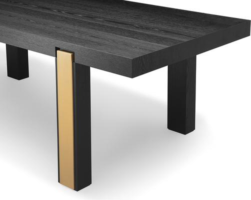Parma Art Deco Dining Table Wenge and Brass Accent Legs image 3