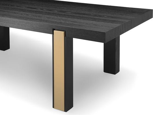 Parma Art Deco Dining Table Wenge and Brass Accent Legs image 4