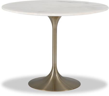 Telma Round Tulip Dining Table White Marble Top