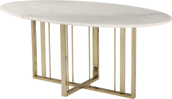 Fenty Oval Dining Table White Marble and Stainless Steel