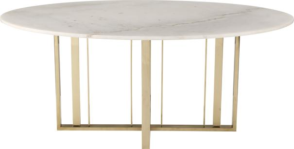 Fenty Oval Dining Table White Marble and Stainless Steel image 2