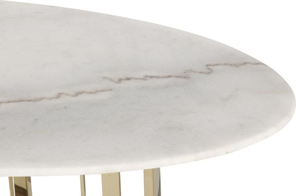 Fenty Oval Dining Table White Marble and Stainless Steel image 4