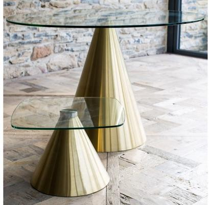 Oscar Small Square Dining Table Glass or Marble with Cone Base image 2