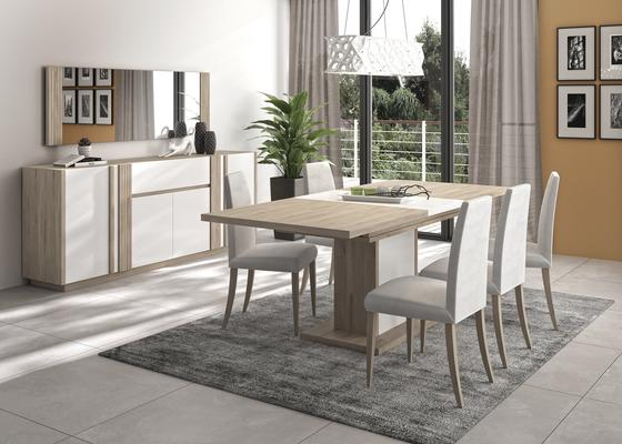 Aston Extending Dining Table 160-208cm - White and Light Oak or Black image 9