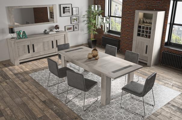 Boston Extending Dining Table 181 - 226cm - Light Grey Oak Finish image 5