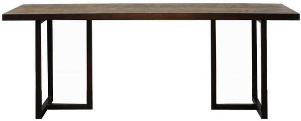 Parquet Top Dining Table with Matt Black Frame
