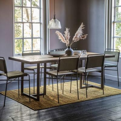 Parquet Top Dining Table with Matt Black Frame image 2