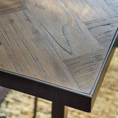 Parquet Top Dining Table with Matt Black Frame image 4