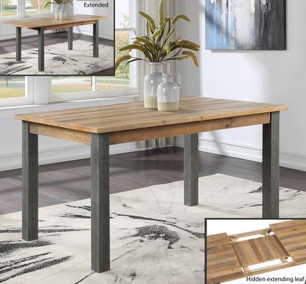 Urban Elegance Extending Dining Table 150-200cm Reclaimed Wood and Aluminium
