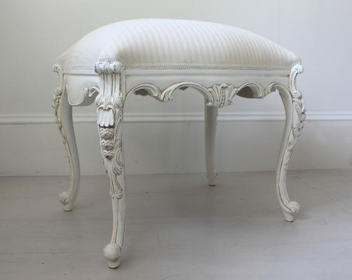 Chateau White French Stool Carved Legs