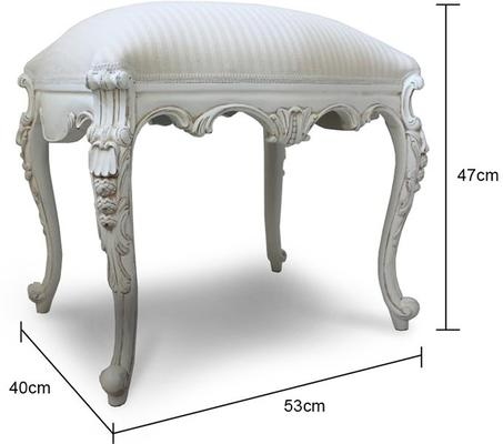 Chateau White French Stool Carved Legs image 2
