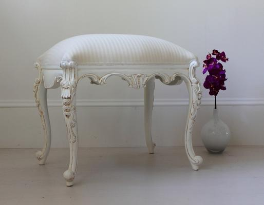 Chateau White French Stool Carved Legs image 3