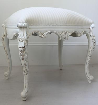 Chateau White French Stool Carved Legs image 5