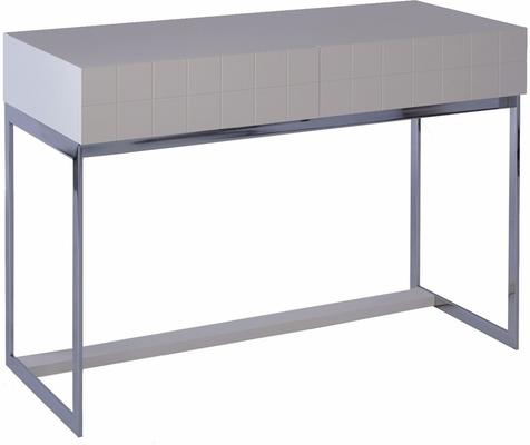 Barcelona Modern Dressing Table Grid Texture - Matt White Lacquer