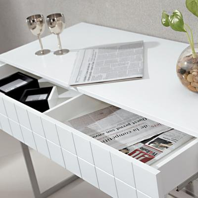 Barcelona Modern Dressing Table Grid Texture - Matt White Lacquer image 4