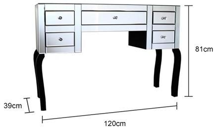 Large Five Drawer Mirrored Dressing Table image 4