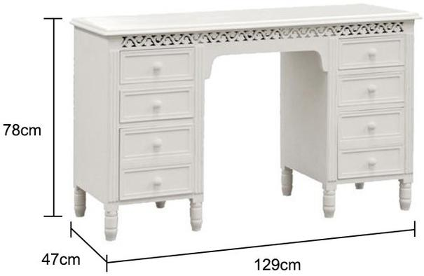 Large White Fretwork Dressing Table / Desk with 8 Drawers image 2